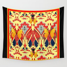 Ornate Black & Yellow Art Nouveau Butterfly Red Designs Wall Tapestry
