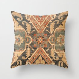 Geometric Leaves III // 18th Century Distressed Red Blue Green Colorful Ornate Accent Rug Pattern Throw Pillow