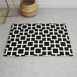 Classic Hollywood Regency Pattern 221 Black and White Rug