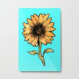 sunflower in cyan Metal Print