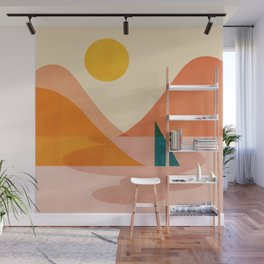 Abstraction_Lake_Sunset Wall Mural