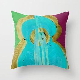 Uke Box Blue Paint Throw Pillow