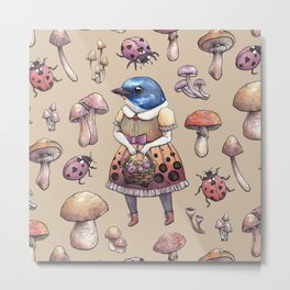 Mushroom Pickers - Lady Blue Metal Print