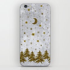 Sparkly Christmas tree, stars, moons on abstract paper iPhone Skin