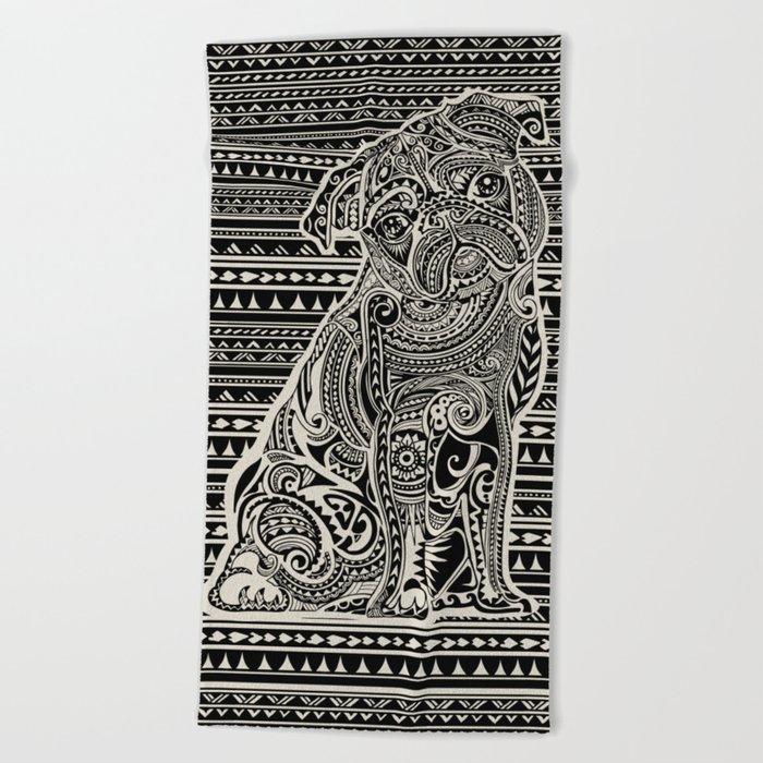 Polynesian Pug Beach Towel