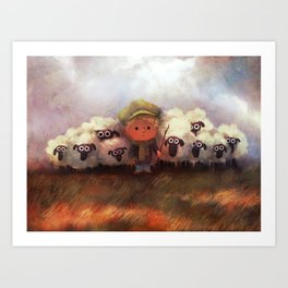 A Boy and His Herd Art Print