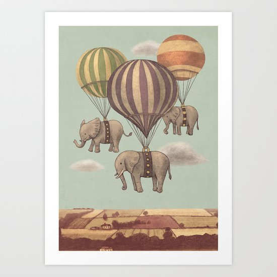 Flight of the Elephants - mint option Art Print