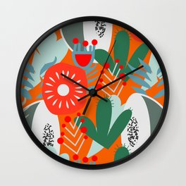 Cacti, fruits and flowers Wall Clock