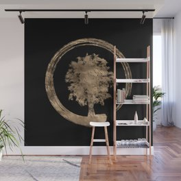 Enso Zen Circle and Tree - Gold on black Wall Mural