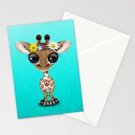 Cute Baby Giraffe Hippie Stationery Cards