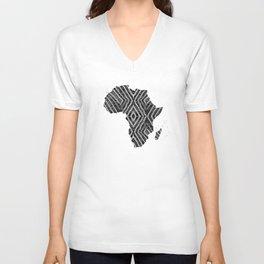 Africa in Dark Grey Unisex V-Neck