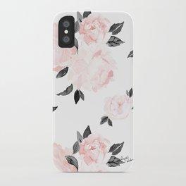 Vintage Blush Floral - BW iPhone Case