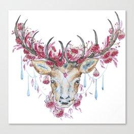 Watercolor Reindeer Canvas Print