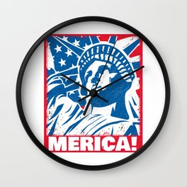 Statue of Liberty USA Merica Independence Day Wall Clock