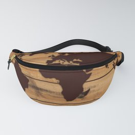 map world wood Fanny Pack