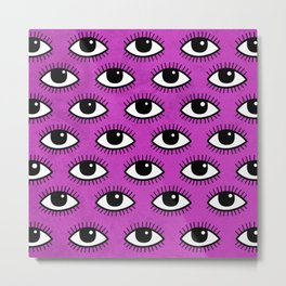 Eyes pattern on pink background Metal Print