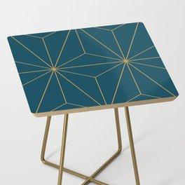 Peacock blue geometrical pyramid Side Table