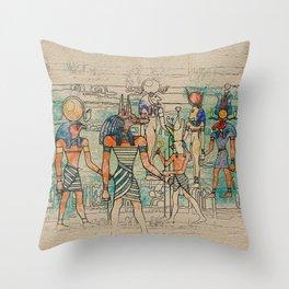 Egyptian Gods on canvas Throw Pillow