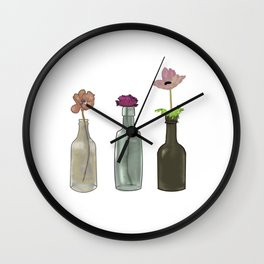 flowers in glass bottles . Pastel colors . artwork Wall Clock