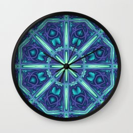 Kaleidoscope abstract in blue, purple and green Wall Clock