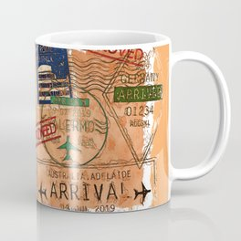 Entry Approved - Passport Stamps Coffee Mug