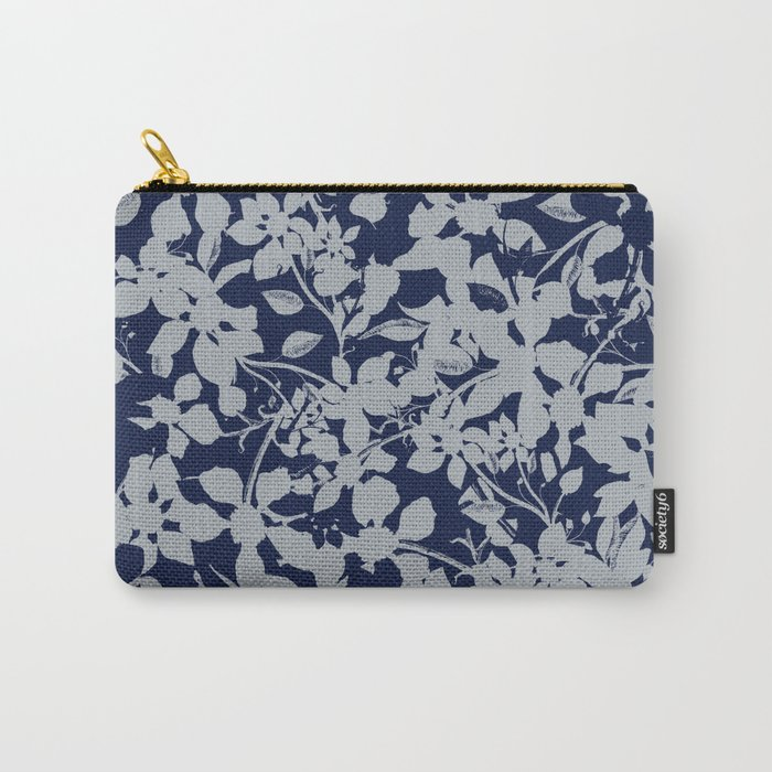 Blue and Grey Floral Pattern - Broken but Flourishing Carry-All Pouch