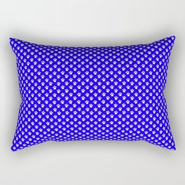 Tiny Paw Prints Pattern - Bright Blue & White Rectangular Pillow