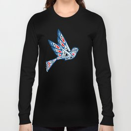 Hummingbird Pacific Northwest Native American Indian Style Art Long Sleeve T-shirt