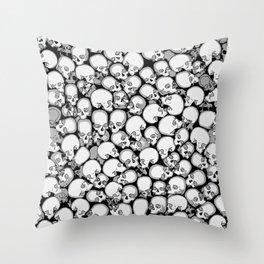 Gothic Crowd B&W Throw Pillow