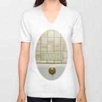 bath V-neck T-shirts featuring Bath by Misspeden