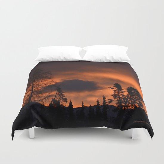 Sunrise Behind Chugach Mts. Duvet Cover