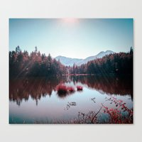 buddhism Canvas Prints featuring Winter Lake by Schwebewesen • Romina Lutz