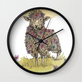 Flower Sheep Wall Clock