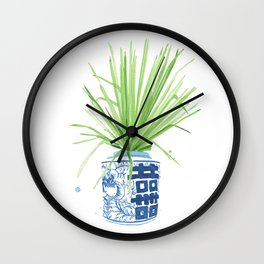 Ginger Jar + Fan Palm Wall Clock