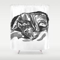 greyhound Shower Curtains featuring Greyhound - 1 by Jenn Steffey