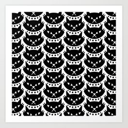 Mid Century Modern Cat Black & White Art Print