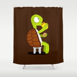 Turtle drinking tea with cookies. Shower Curtain