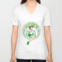 sailor jupiter V-neck T-shirts featuring Sailor Jupiter by Neo Crystal Tokyo