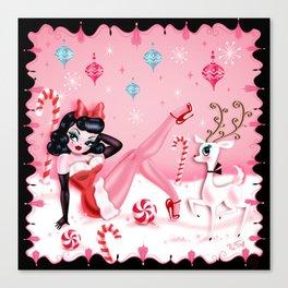 Christmas Pinup Girl with Reindeer Canvas Print