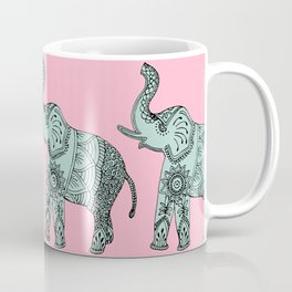 Elephant doodle in mint and pink. Coffee Mug