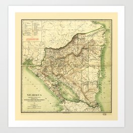 Map of Nicaragua (1903) Art Print