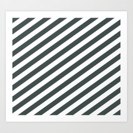 PPG Night Watch Pewter Green & White Stripes Fat Angled Lines - Stripe Pattern Art Print