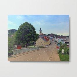 Bridge into the village center | landscape photography Metal Print
