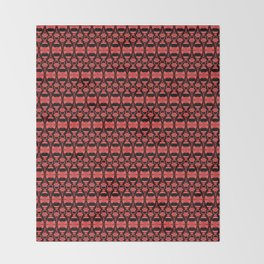 Dividers 02 in Red over Black Throw Blanket