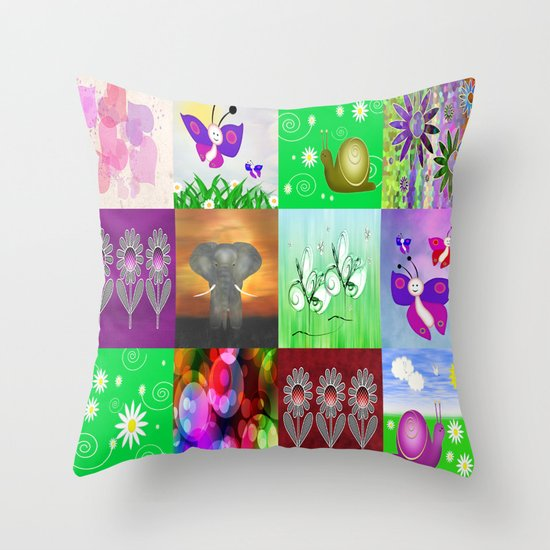 For Kids Collage Throw Pillow