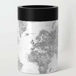 Grayscale watercolor world map with cities Can Cooler
