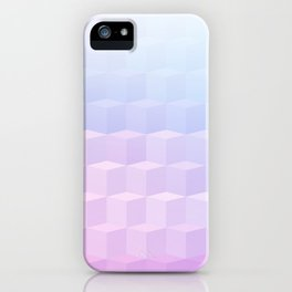 Pastel Cube Pattern Ombre 1 - pink, blue and vi iPhone Case