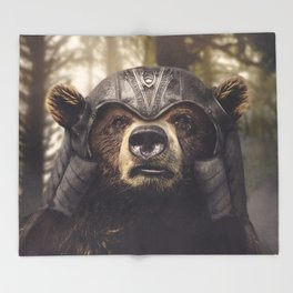 Armored Bear Companion Throw Blanket