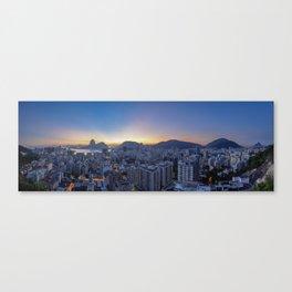 View over Botafogo towards the Sugarloaf Mountain at dawn, Rio de Janeiro, Brazil Canvas Print