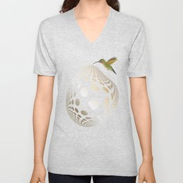 Hummingbird and Bubble Unisex V-Neck